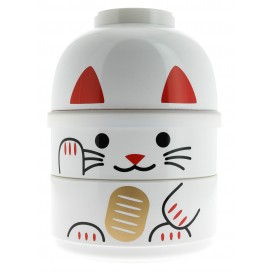 Bento box Maneki Neko blanco